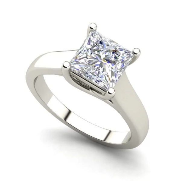 Solitaire 0.5 Carat Princess Cut White Gold Diamond Ring