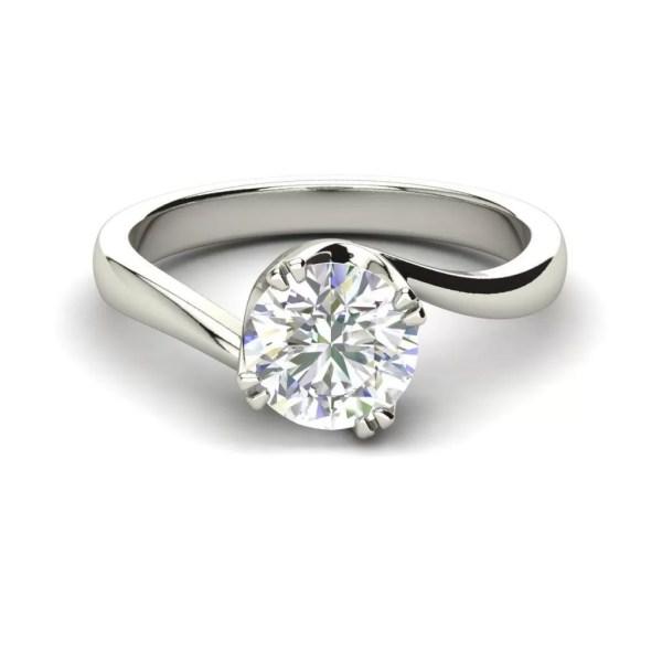 Twist Solitaire 0.5 Carat Round Cut Diamond Ring