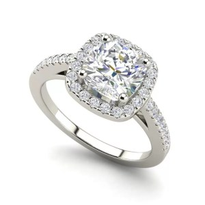 Halo 1.95 Carat Cushion Cut Diamond Engagement Ring