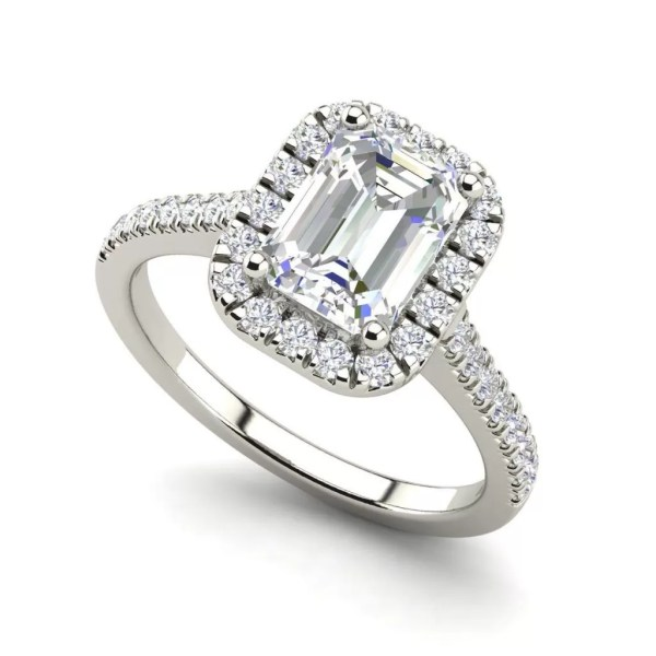 Halo Pave 1.6 Carat Emerald Cut Diamond Engagement Ring