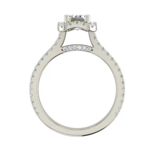 Pave Halo 1.9 Carat Emerald Cut Diamond Engagement Ring