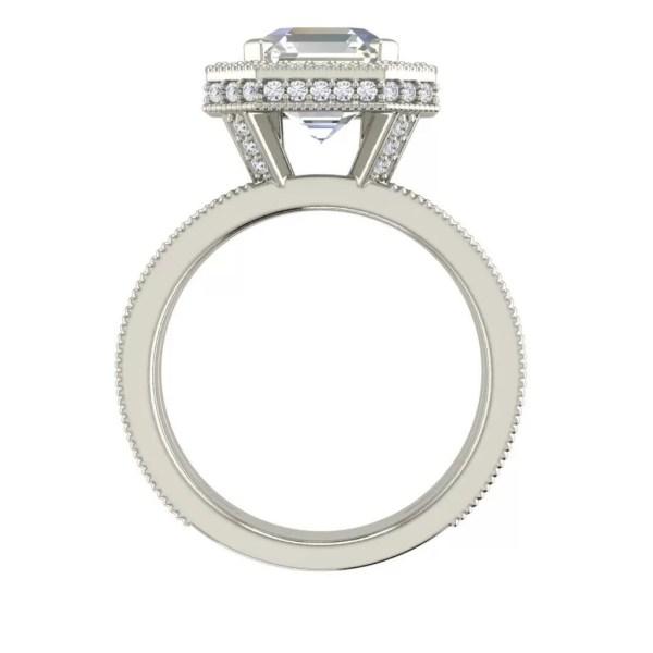 Split Shank Pave 2.25 Carat Asscher Cut Diamond Engagement Ring