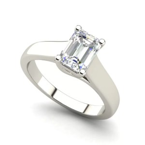 Trellis Solitaire 1 Ct Emerald Cut Diamond Engagement Ring