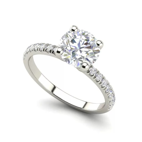 Pave Flush Fit 1.35 Carat Round Cut Diamond Engagement Ring