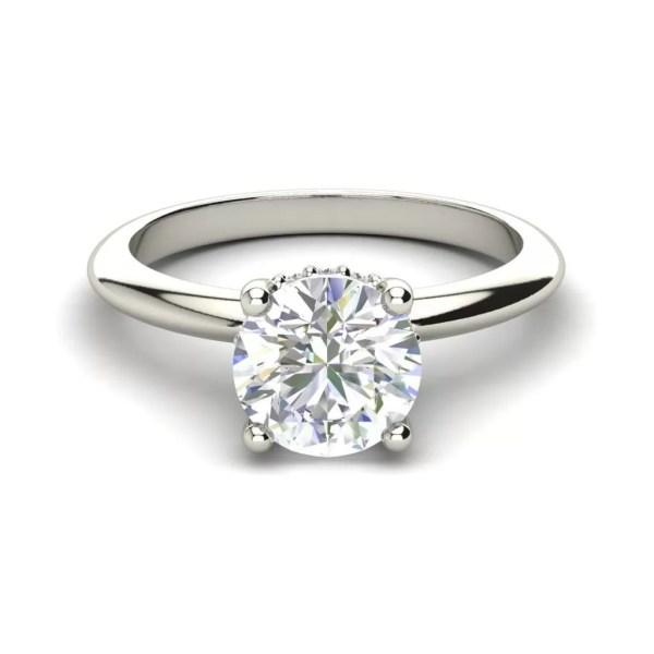 Solitaire 1.3 Carat Round Cut Diamond Engagement Ring