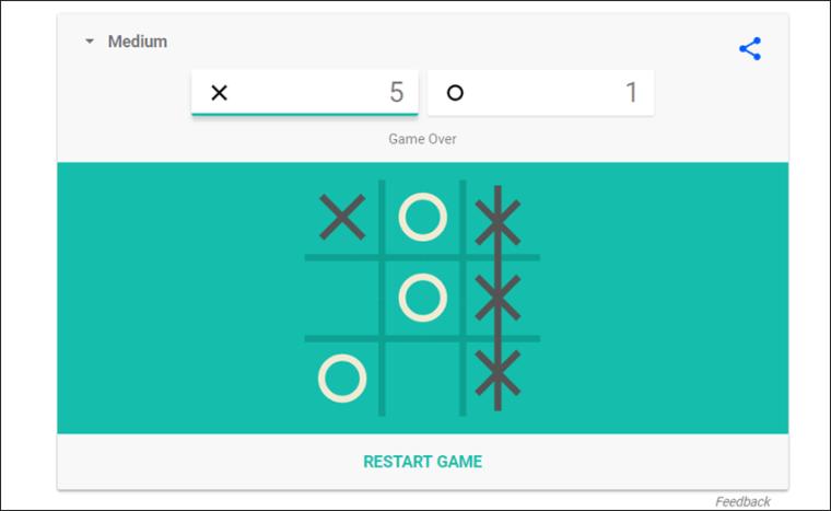 لعبة إكس-أو فى جوجل