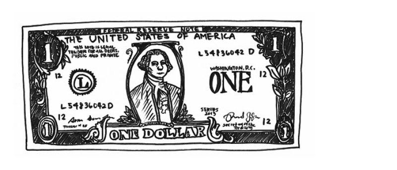 صورة ترسيمية لورقة فئة 1 دولار - 2