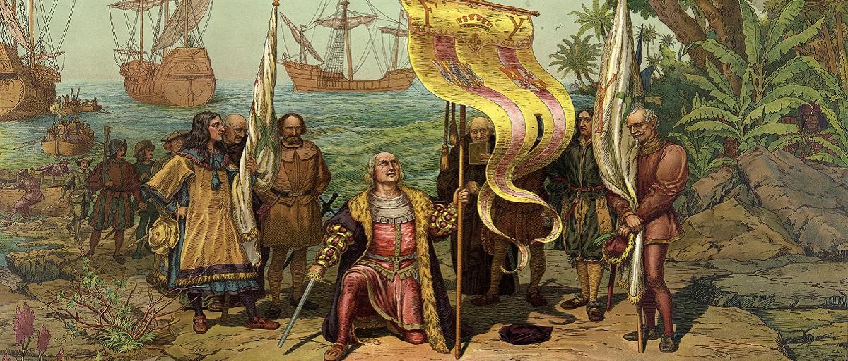 كولومبوس يضع قدمه في شاطئ العالم الجديد 1492 م