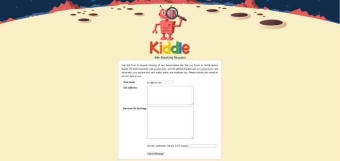 kiddle site engelleme formu