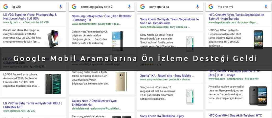 Google Mobil Aramalarına Ön İzleme Desteği Geldi