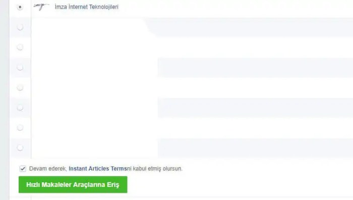 Facebook Anlık Makaleler (Instant Articles) Kurulumu Resimli Anlatım 2