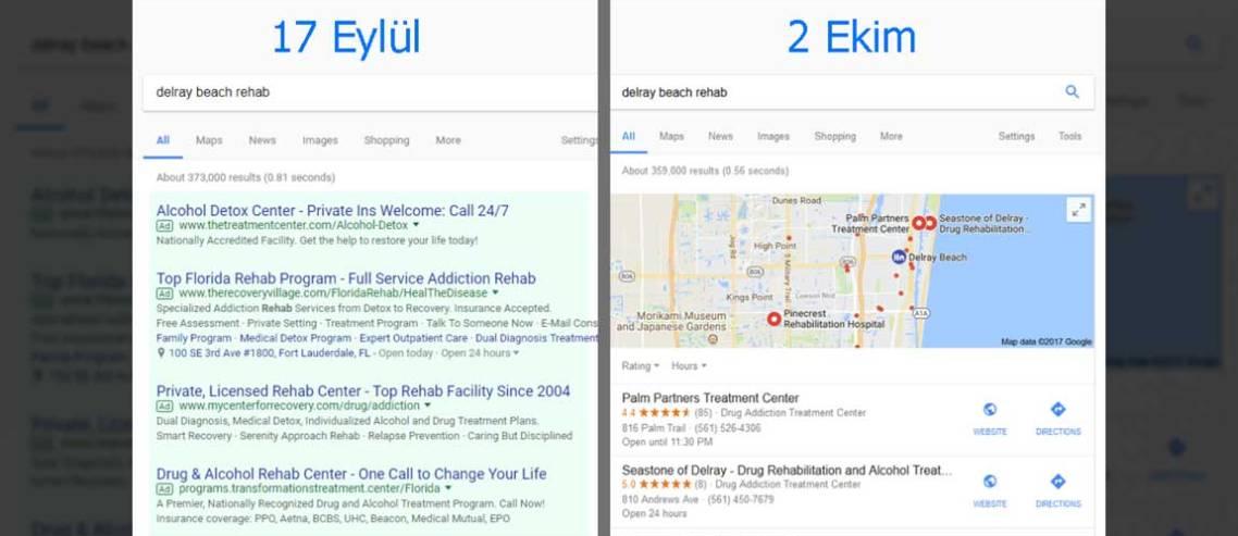 Google Rehabilitasyon Merkezi Reklamlarını Yasakladı