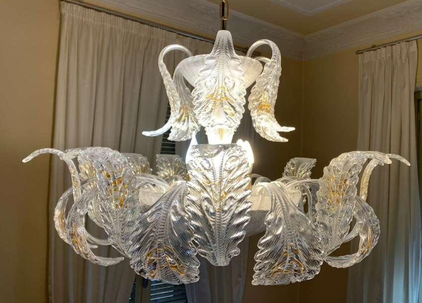 Alcune sono trasparenti e altre sono catene a maglie smerigliate bianche. Lampadario Di Murano Anni 60 Aram Group Cuneo