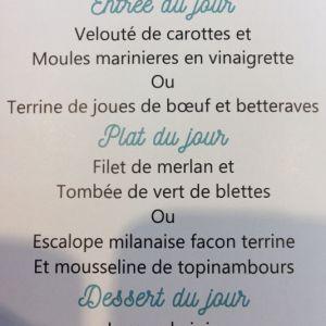 Menu du jour à La Cantine Française