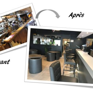relooking du bar: comptoir, desserte et accueil de l'hôtel