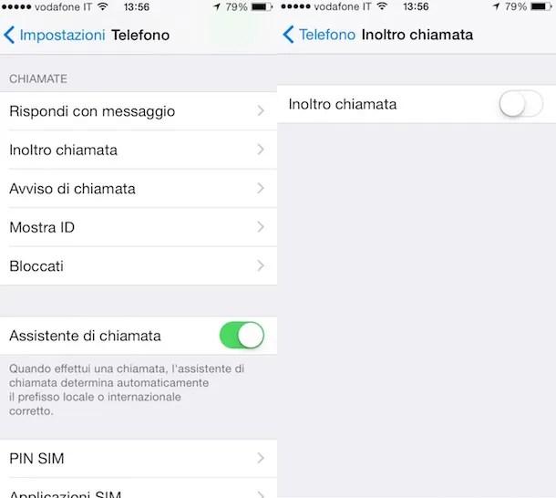 Screenshot che mostra come disabilitare segreteria Vodafone