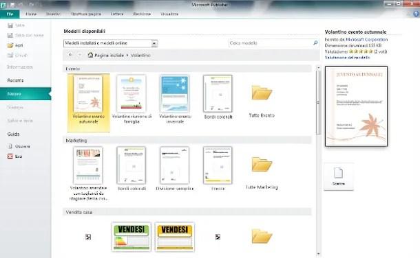 Screenshot di Microsoft Office Publisher
