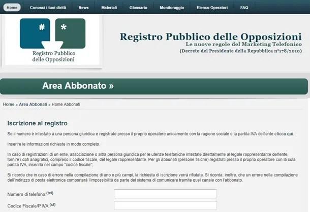 Iscriversi al Registro delle Opposizioni