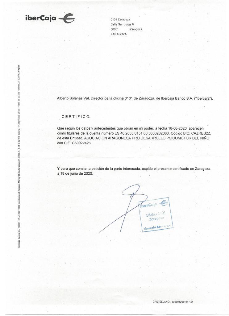 certificado titularidad de la cuenta
