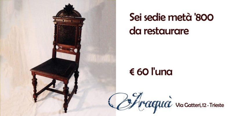 Sei sedie metà '800 da restaurare - € 60 l'una