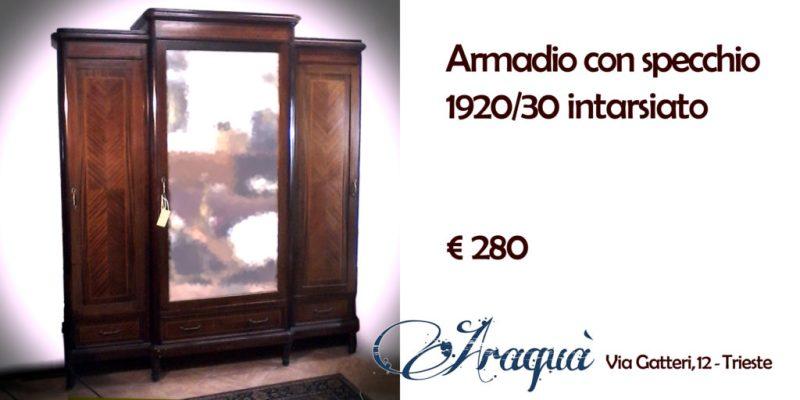 Armadio con specchio 1920/30 intarsiato - € 280