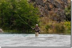 Pesca con mosca en río Liucura, Pucón