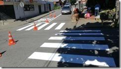 Departamento de Tránsito de la Municipalidad de Villarrica trabaja en el remarcado de señaletica vial