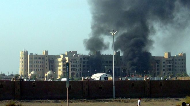 Rockets struck the Hotel Qasr early on Tuesday