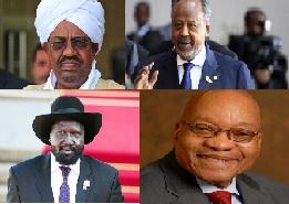 Omar Al Bashiir, Ismaciil Cumar Gelle, Salva Kiir Mayarardit iyo Jacob Zuma.