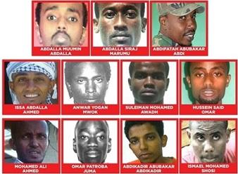 muuqaalka iyo magacyada kooxda dawlada Kenya ku eedaysay argagixisada
