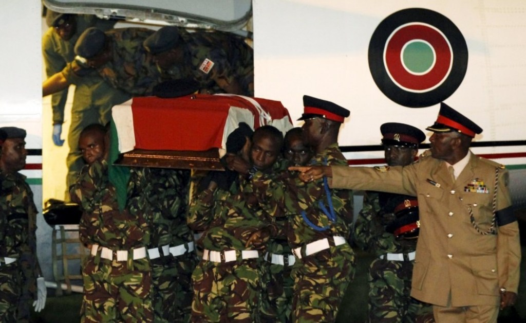 Members of the Kenya Defense Forces in Nairobi carry the casket of a comrade serving in the African Union Mission in Somalia, who was killed during an attack last week by Somalia's al Shabaab Islamist group. (Thomas Mukoya/ Reuters)