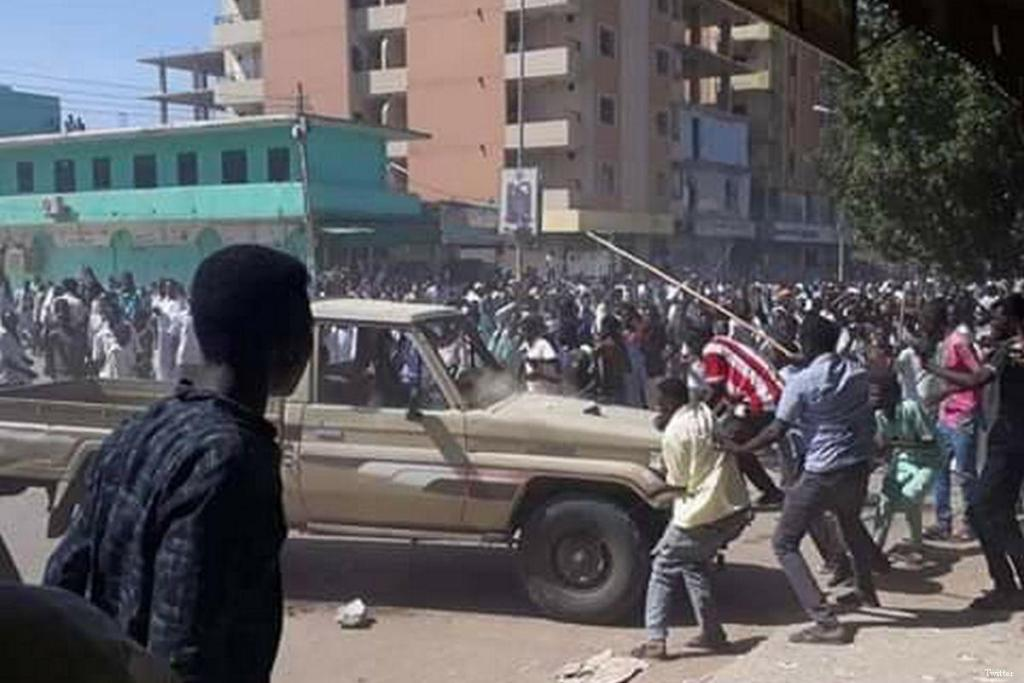 Hundreds of protesters come together during a demonstration against the soaring prices, the scarcity of basic goods and services in Sudan on 20 December 2018 [Twitter]