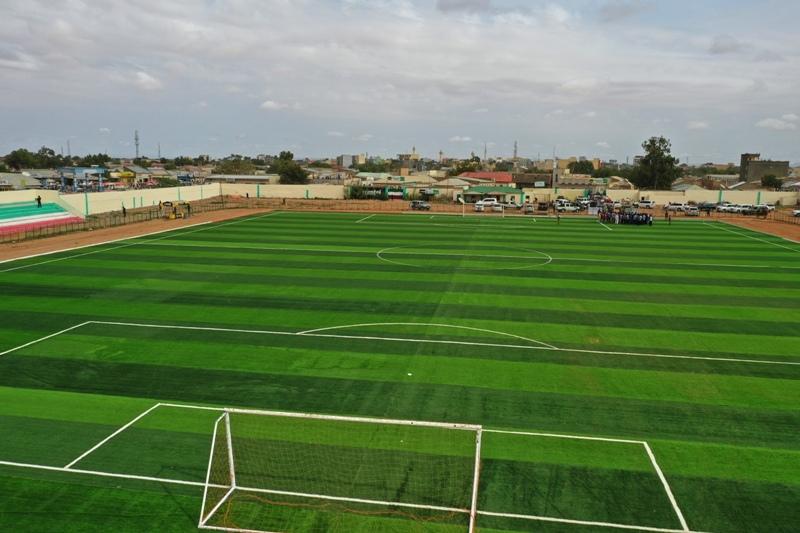Madaxweynaha Somaliland Muuse Biixi oo xadhiga ka jaray garoonka kubbadda Cagta Alamsey Stadium ee Burco 16 Sep 2019