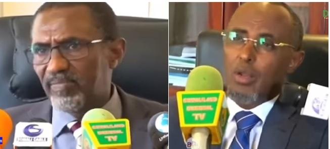 Wasiirka Wasaaradda Hawlaha Guud iyo Guriyaynta Somaliland, Cabdirashiid Ducaale Qanbi iyo Xildhibaan Maxamed Jaamac oo ka tirsan golaha wakiillada Somaliland, 15 Dec 2019, Araweelo News Network.