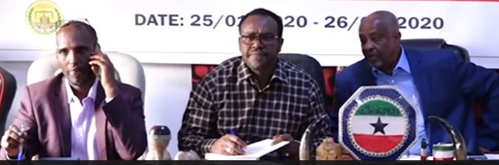 Mohamed Kahin Ahmed and Suleiman Yussuf Ali Koore, ministers for Interior and Information, respectively, unveiled a list which had been kept under wraps until now. Chairman of Solja Mohamud Huto sits on the side of the ministers 25 Jan 2020, Araweelo News Network.