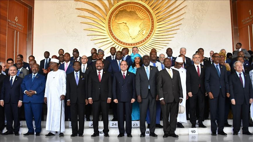 Participant leaders take part in a family photo at the African Union headquarters during the 33rd African Union Heads of State Summit in Addis Ababa, Ethiopia on February 09, 2020. ( Palestinian Prime Ministry Office / Handout - Anadolu Agency