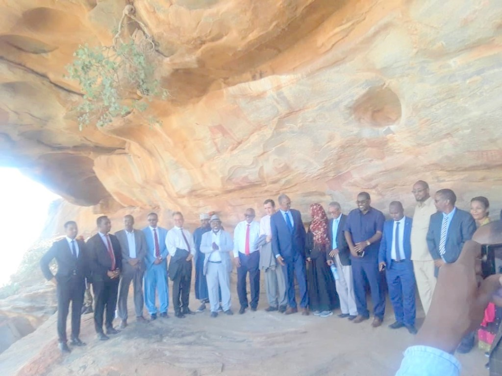EU Ambassador, Nicolás Berlanga,  Somaliland Minister of Trade, Industry and Tourism of Somaliland, Mohamoud Hassan Sa'ad, Redsea Cultural Foundation Managing Director, Dr. Jama Musse Jama and other officials visit Laas-Geel, Supporting Preservation of the Historical  Heritage site Somaliland, 8 March 2020, by Araweelo News Network.