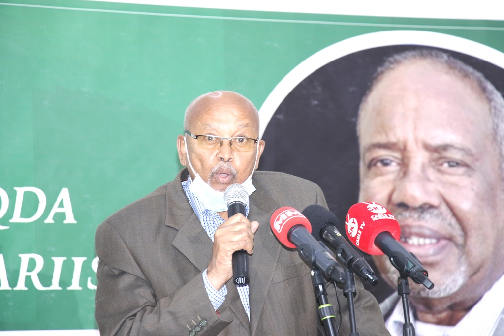 Chairman of the Somaliland National Human Rights Commission Scholar Mohamed Barud Ali who was at the heart of the founding of the UFFO group, which was imprisoned by the Siad Barre government in the 1980s. Image Araweelo News Network 7 December 2020.