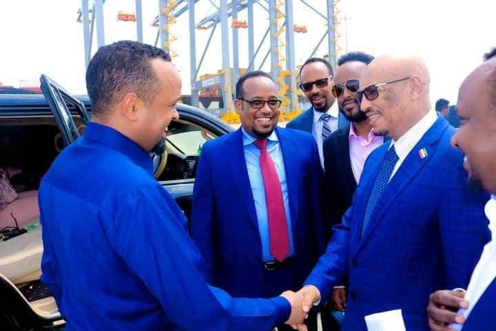 UCID Chairman of the Opposition Party, Eng. Faisal Ali Warabe right Picture ,, Minister of Finance of the Federal Government of Ethiopia Ahmed Shire , Left , 24 Jun 201. Image Araweelo News Network