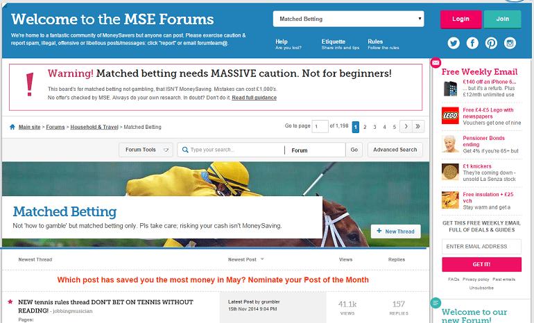 money saving expert matched betting forum