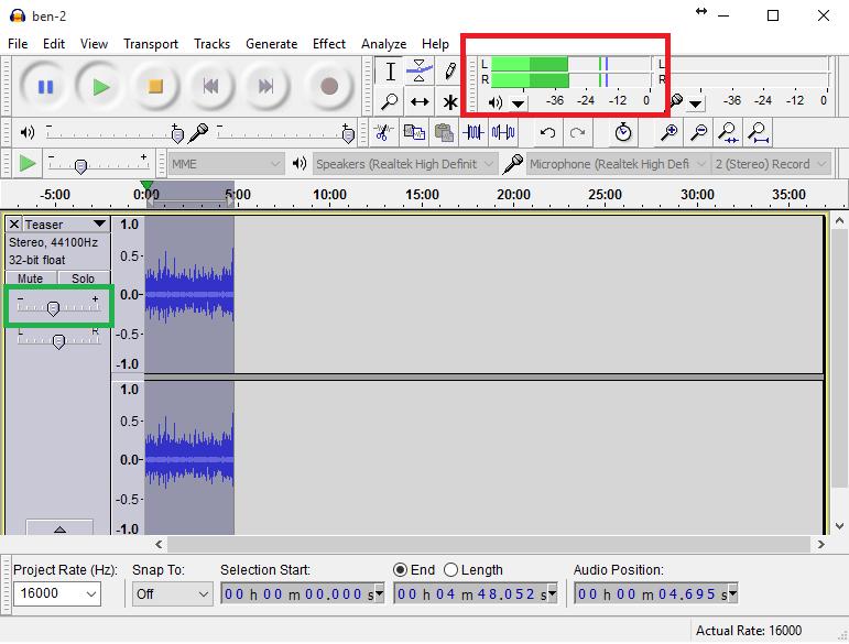 audacity db rms self-publish audiobook audible