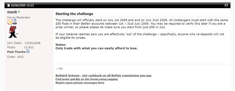 Betfair trading challenge