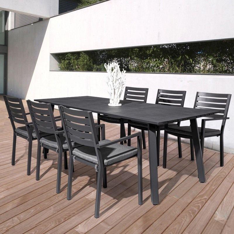 salon de jardin aluminium table 6 fauteuils helina