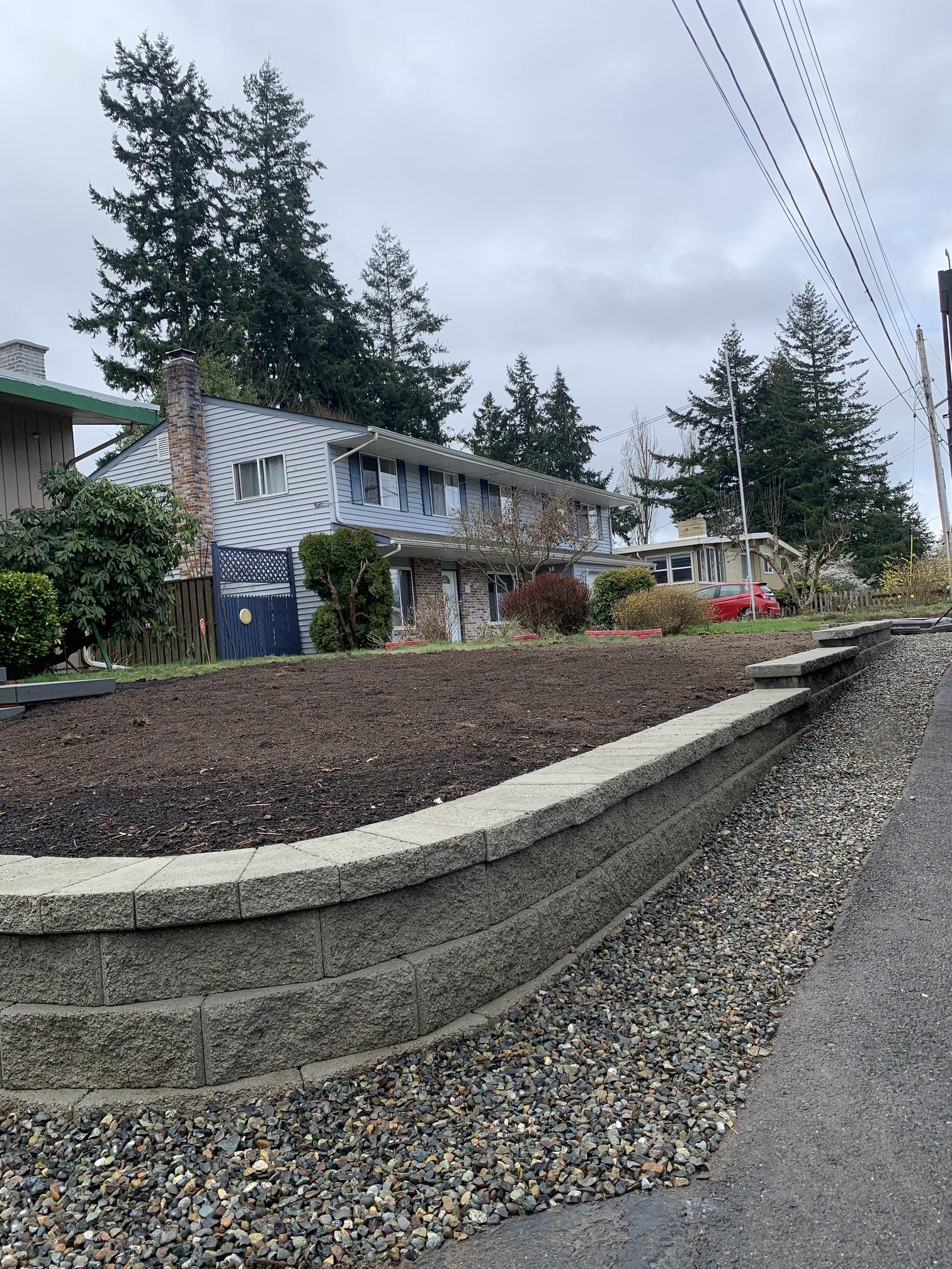 Front yard retaining wall