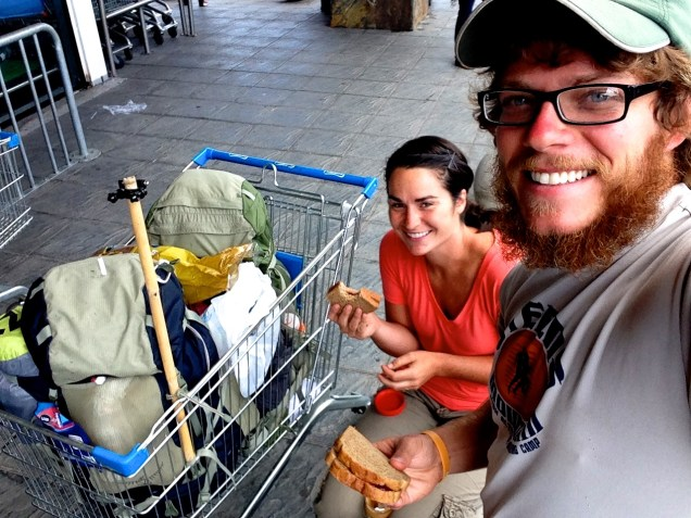 hitchhiking, Valdivia, homeless lunch, shopping cart, arboursabroad