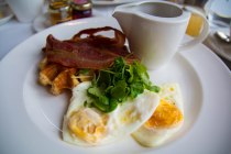 breakfast, plate presentation, arboursabroad, Aberdeen, waffles, bacon, eggs, Marcliffe Hotel and Spa