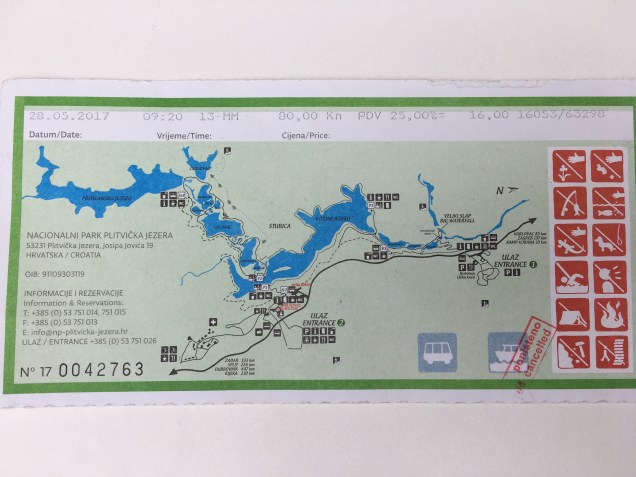 ticket, national park, map, Plitvice Lakes Guide, Croatia, arboursabroad