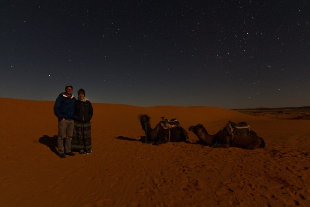 Camel night photography, camels at night, Morocco, camel trek, night in the desert, arboursabroad