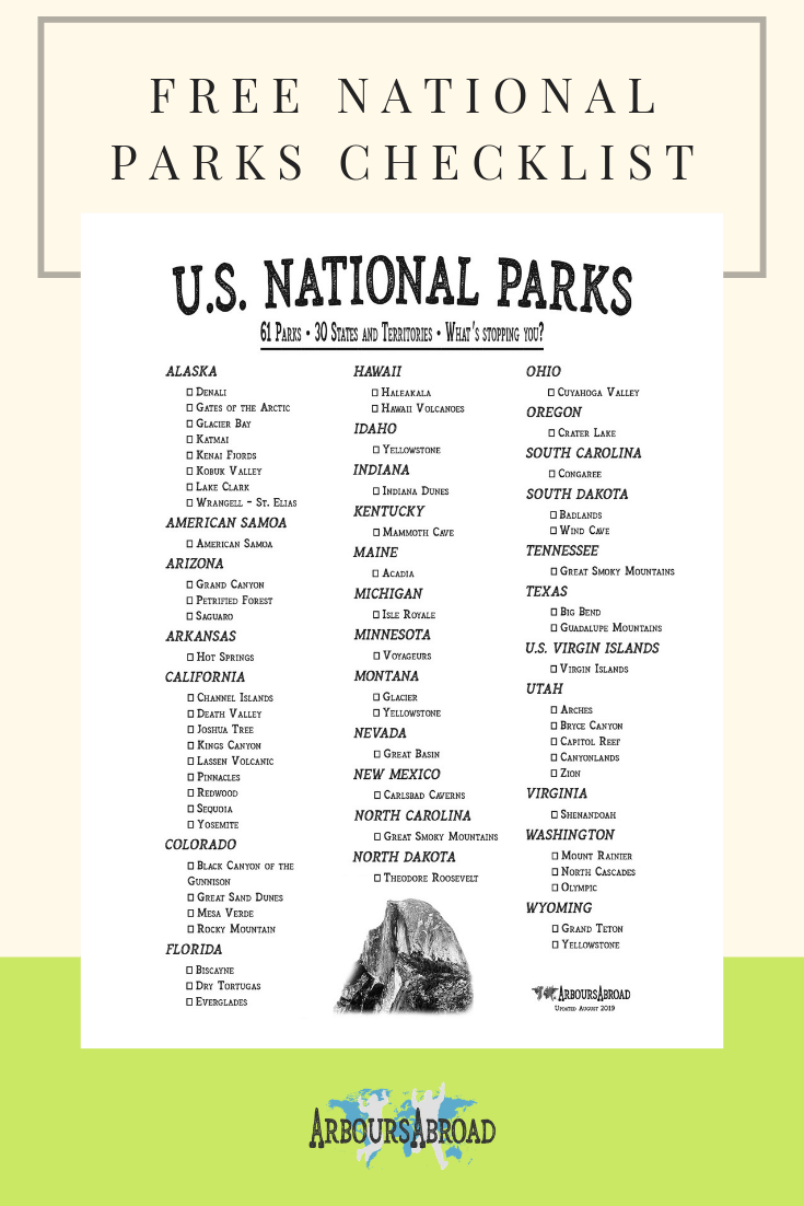 photo regarding Printable National Park Checklist named US Nationwide Parks via Country (with PDF) Identify A Countrywide Park