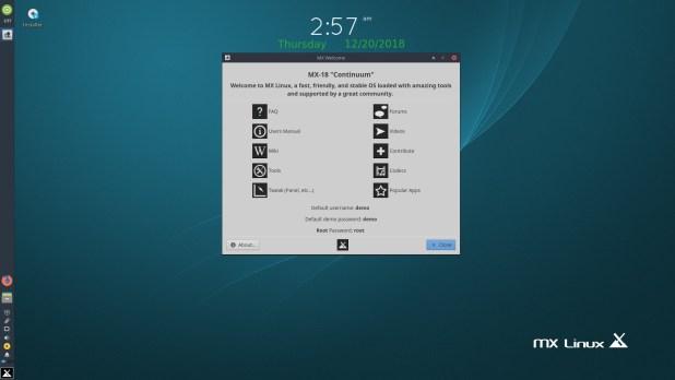 واجهة توزيعة لينكس MX